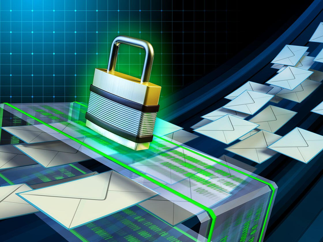 Padlock and envelopes concept of email security