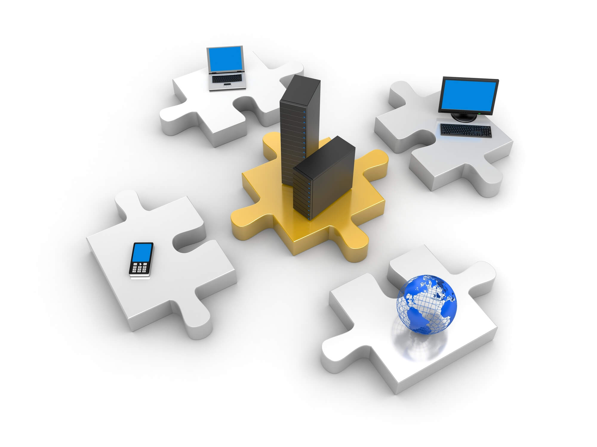 IT infrastructure components as jigsaw puzzle pieces